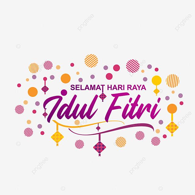 Modern Art Lettering Of Selamat Hari Raya Idul Fitri, Eid