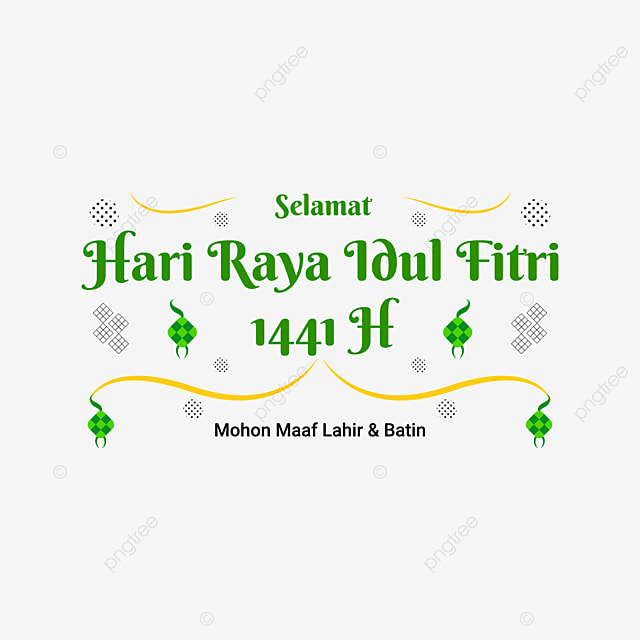 Lettering Selamat Hari Raya Idul Fitri Celebration Of The