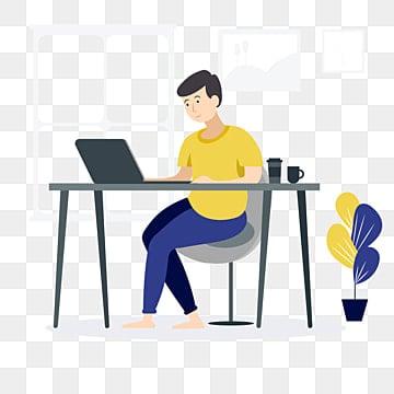 молодой парень программист фрилансер работа онлайн работа от домашнего офиса компьютер ноутбук счастливый работник новый сотрудник коллега по команде люди дома в карантине вектор плоский стиль иллюстрации, человек клипарт, люди, вдохновение PNG ресурс рисунок и векторное изображение