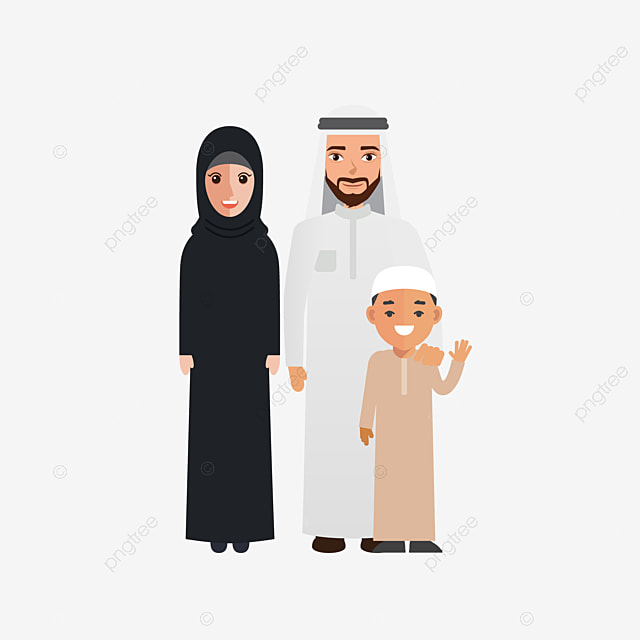 Muslim Arab Family Cartoon Vector Family Clipart Color Palm Arab Png And Vector With Transparent Background For Free Download