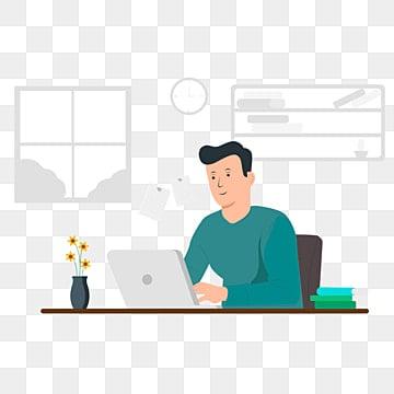 работа на дому со рабочее пространство концепция иллюстрации молодые люди мужчина и женщина фрилансеры работают на ноутбуках и компьютерах на дому люди дома в карантине вектор плоский стиль иллюстрации, вдохновение, аутсорсинг, Изолированные PNG ресурс рисунок и векторное изображение