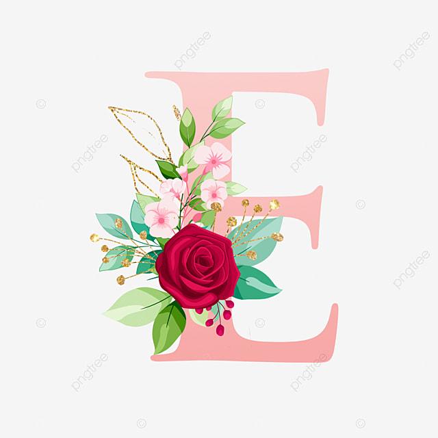 Huruf Alfabet E Dengan Bunga Cat Air Logo Bunga Pernikahan Png Dan Vektor Dengan Latar Belakang Transparan Untuk Unduh Gratis