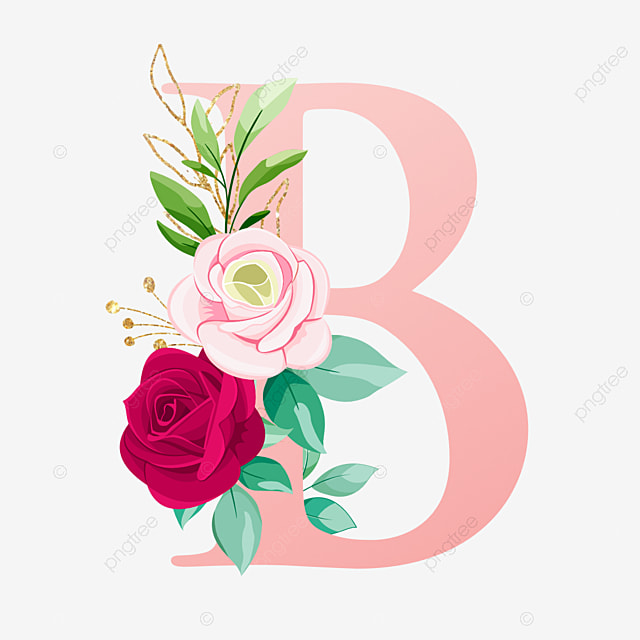 Huruf B Dengan Bunga Cat Air Logo Bunga Pernikahan Png Dan Vektor Dengan Latar Belakang Transparan Untuk Unduh Gratis