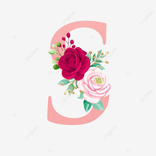 Mawar Huruf Alfabet Emas S Dengan Bunga Mawar Logo Bunga Pernikahan Png Dan Vektor Dengan Latar Belakang Transparan Untuk Unduh Gratis