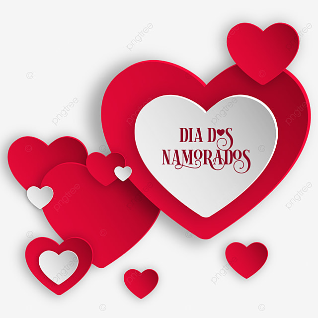 Modern Dia Dos Namorados With Red And White Heart Png Element, Heart, Red, Color PNG and Vector