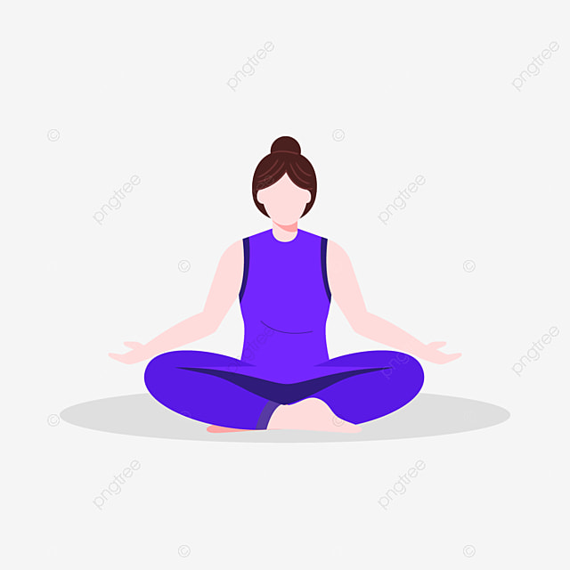 International Day Of Yoga In Flat Design Girl Illustrations Blue Color People Woman Nature Png And Vector With Transparent Background For Free Download
