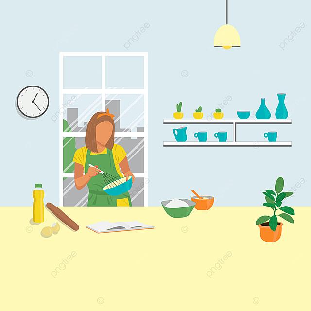 Gambar Seorang Gadis Sedang Memasak Di Dapur Di Rumah Bahan Bahan Di Atas Meja Bahan Di Atas Meja Gadis Masak Penaik Png Dan Vektor Untuk Muat Turun Percuma