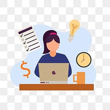 работа на дому с девушкой работа с ноутбуком для бизнес планирования креативная идея и тайм менеджмент, женский клипарт, портативный компьютер, женщина PNG ресурс рисунок и векторное изображение
