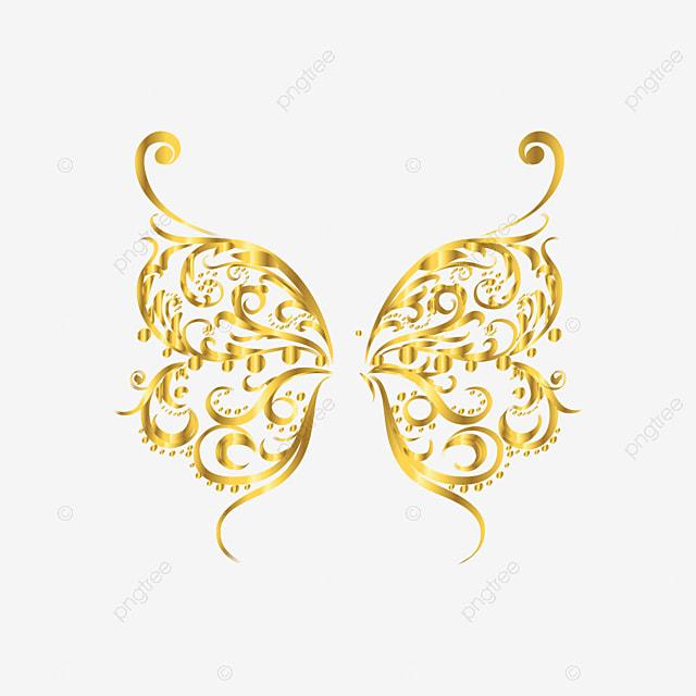 جناح الفراشة الذهبية يطير حلق مناورة Png والمتجهات للتحميل مجانا