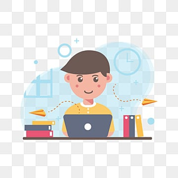 молодые люди работают и учатся из дома в плоском стиле, личный клипарт, мальчик, работа PNG ресурс рисунок и векторное изображение