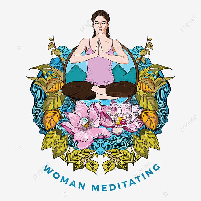 Woman Meditating In A Lotus Yoga Position Full Color Woman Yoga Relaxation Png And Vector With Transparent Background For Free Download