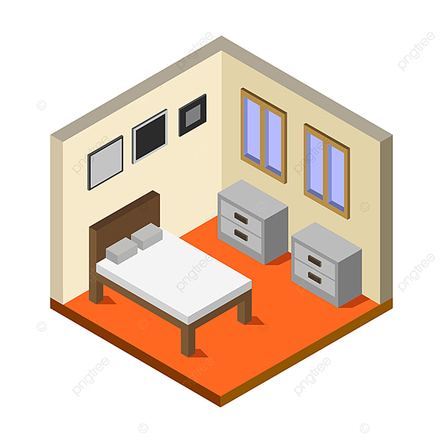 Isometric And Illustrated Bedroom Room Home Background Png And Vector With Transparent Background For Free Download