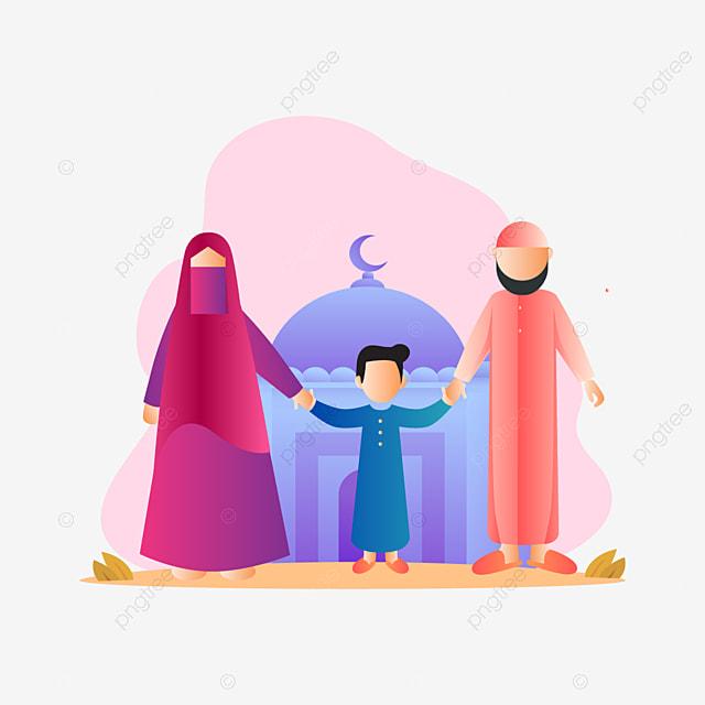 Grafik Vektor Ilustrasi Muslim Keluarga Bahagia Comel Reka Bentuk Muslim Gambar Png Dan Vektor Untuk Muat Turun Percuma