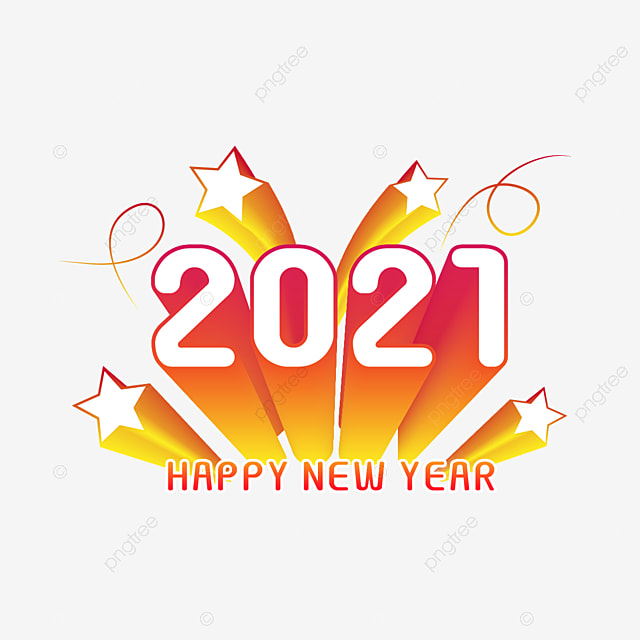 Happy New Year 2021 With Stars, Happy New Year, New 2021 Year, Blonde  Colors PNG and Vector with Transparent Background for Free Download