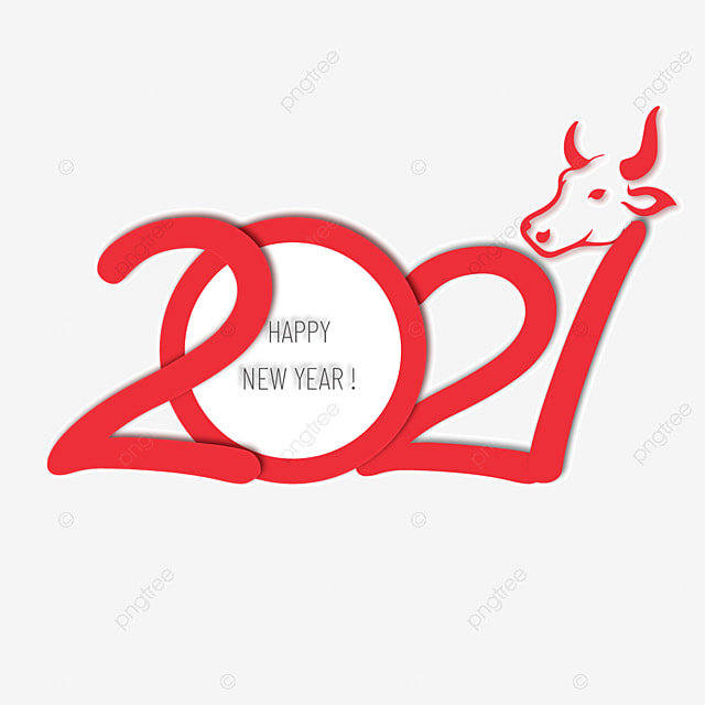 simple red 2021 artistic font