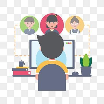 онлайн встречи и работа из дома, социальный клипарт, Работа из дома, мужчина PNG ресурс рисунок и векторное изображение
