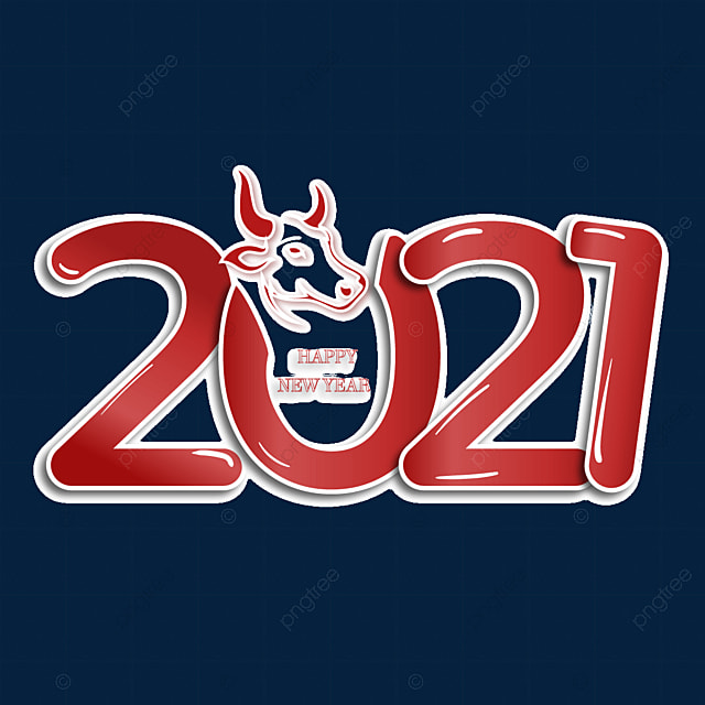 2021 red creative year of the ox art word