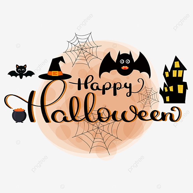 Happy Halloween Text Hand Lettering With Elements Happy Halloween Happy Halloween Png And Vector With Transparent Background For Free Download