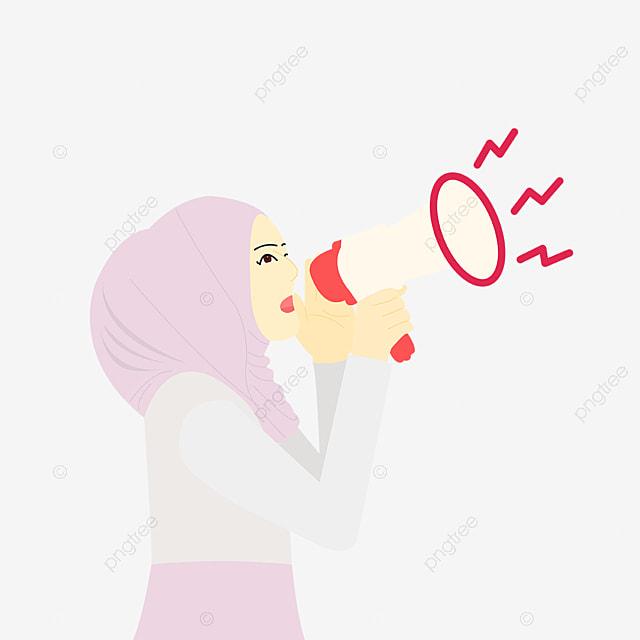 Gambar Gadis Hijab Berbicara Dengan Vektor Ilustrasi Pembicara Pembicara Pidato Profesional Png Dan Vektor Dengan Latar Belakang Transparan Untuk Unduh Gratis