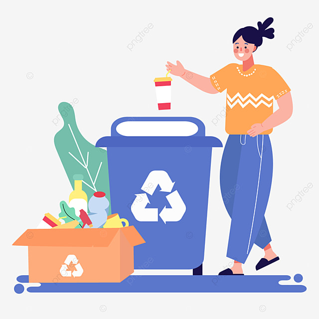 cartoon garbage sorting recycling illustration