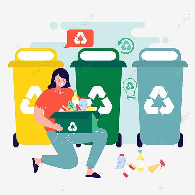 cartoon hand drawn trash can recycling illustration