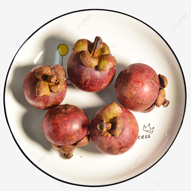 five mangosteens on the plate