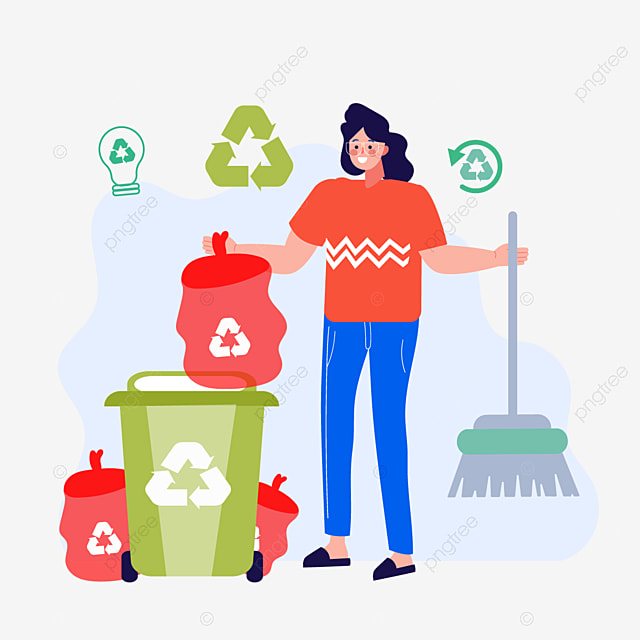 hand drawn cartoon cleaning and recycling illustration