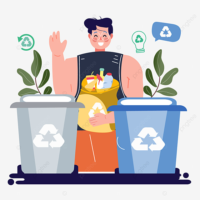 hand drawn cartoon garbage recycling illustration