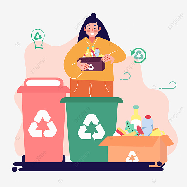 hand drawn cartoon garbage sorting green illustration