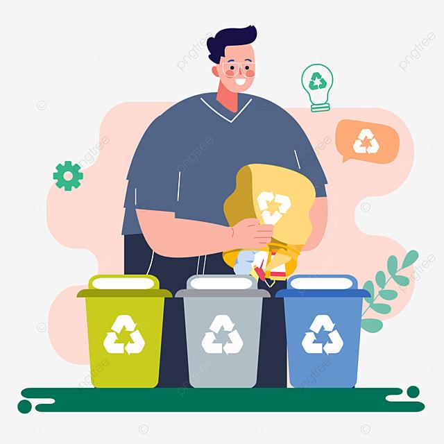 hand drawn cartoon garbage sorting out garbage illustration
