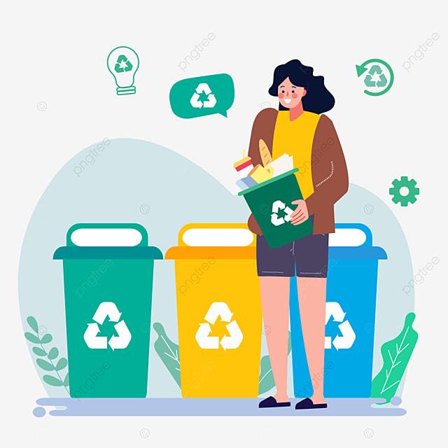hand drawn cartoon garbage sorting plant illustration