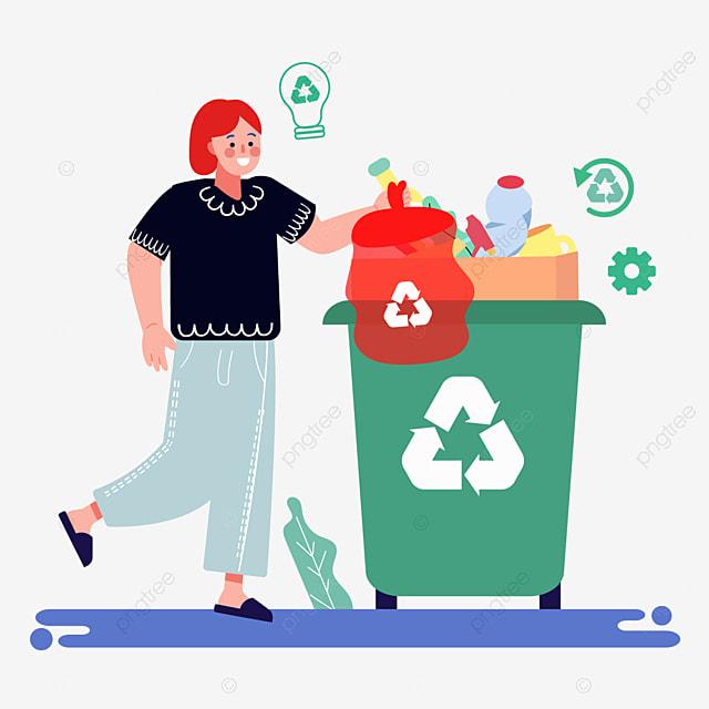 hand drawn cartoon garbage sorting plastic bag illustration