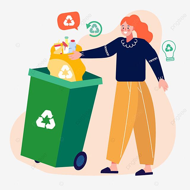 hand drawn cartoon trash can plastic bag illustration