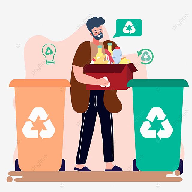 hand drawn garbage sorting carton recycling illustration