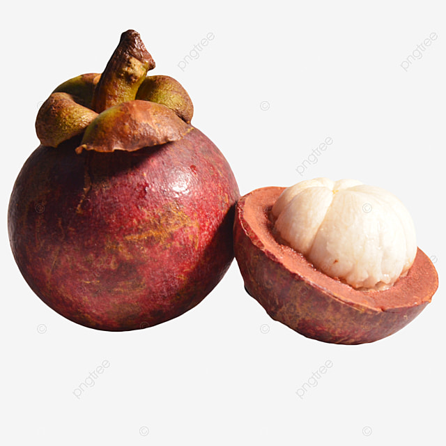 one whole mangosteen and cut mangosteen