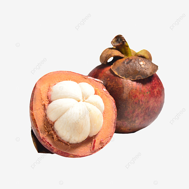 two opened fresh mangosteen pulp