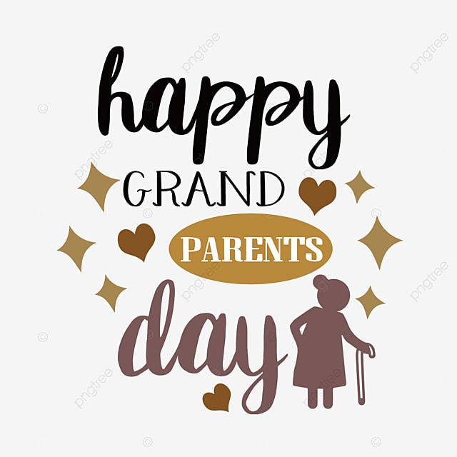 cartoon hand drawn brown grandparents day svg font