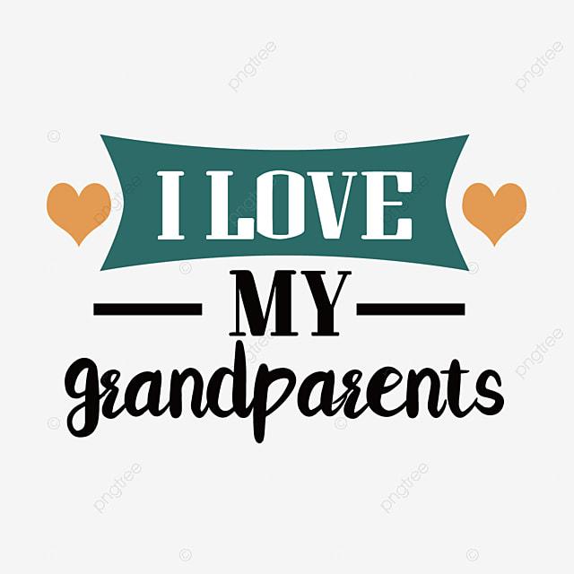 cartoon hand drawn yellow love grandparents day font