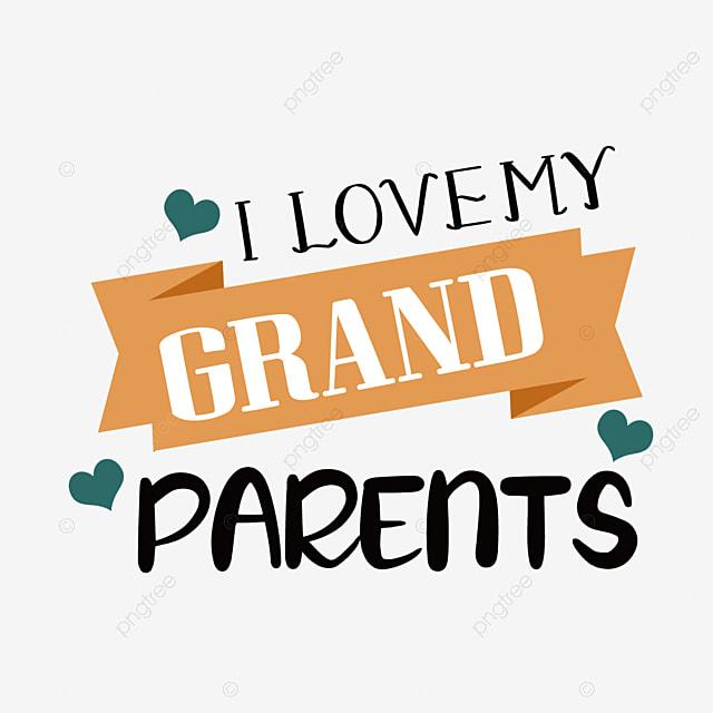 hand drawn cartoon banner grandparents day font