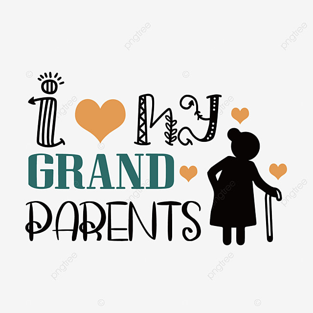 hand drawn cartoon grandparents day silhouette font