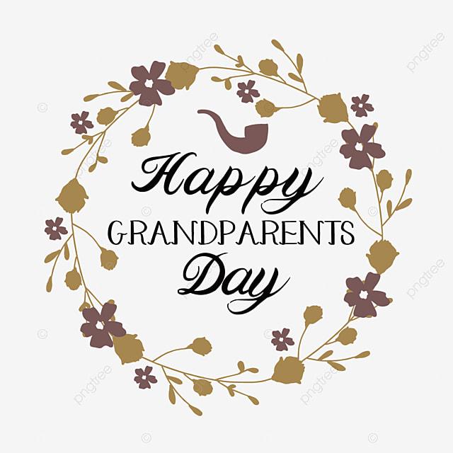 hand drawn cartoon grandparents day wreath font