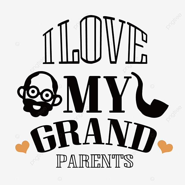 hand drawn cartoon grandparents love font