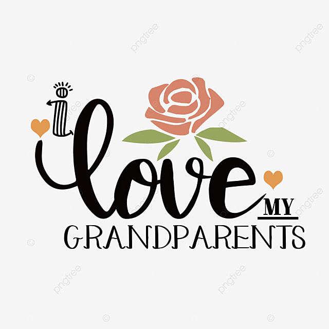 hand drawn cartoon rose grandparents day font