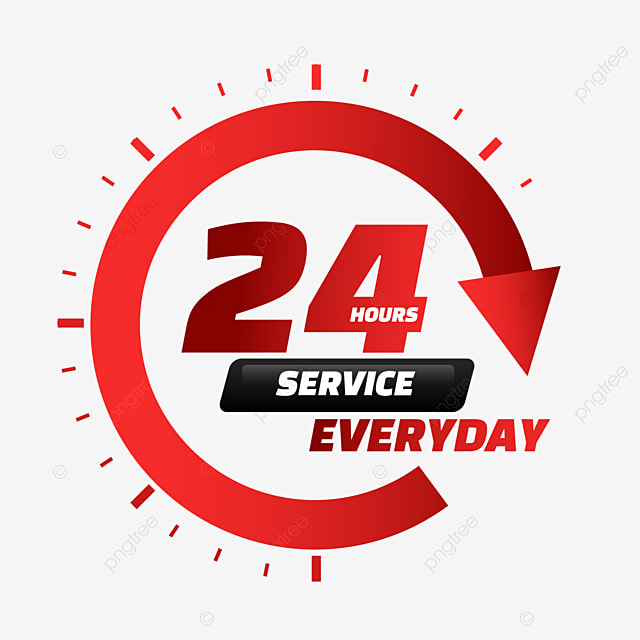 24 hour delivery service red gradient arrow
