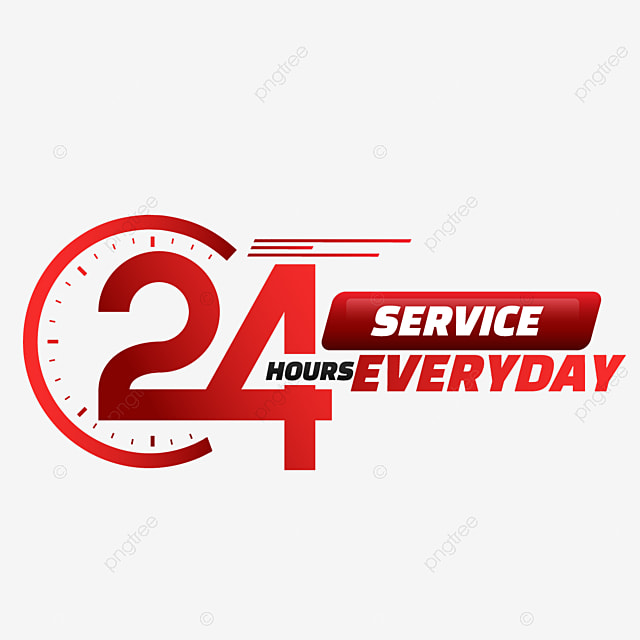 24 hour delivery service red gradient