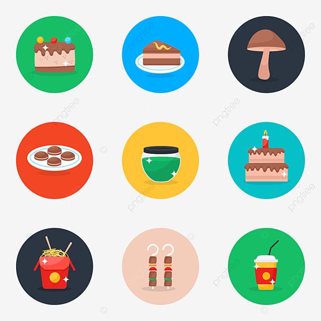 ikon makanan dan minuman dalam paket gaya bulat datar modern kue cokelat manis potongan kue png dan vektor dengan latar belakang transparan untuk unduh gratis https id pngtree com freepng food and drink icons in modern flat rounded style pack 5519080 html