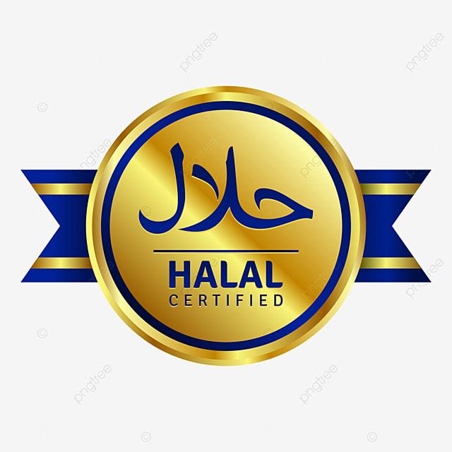 Lencana Bersertifikat Halal Bulat Emas Dengan Pita Biru Keemasan Halal Muslim Png Dan Vektor Dengan Latar Belakang Transparan Untuk Unduh Gratis