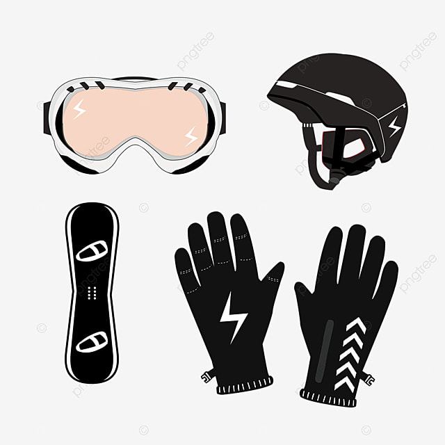 hand drawn black winter ski equipment