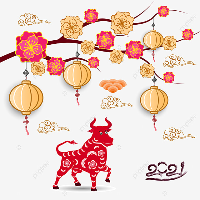 Happy Chinese New Year 2021 Year Of The Ox Flower And Asian Elements With Craft Style On Background Ox Buffalo Asia Png And Vector With Transparent Background For Free Download