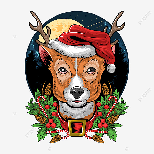 christmas reindeer wearing santa claus hat very detailed design and editable layers
